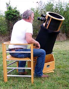 Rick uses the Shorty Observing Chair & Starmaster Portable Telescopes - Observing Chairs